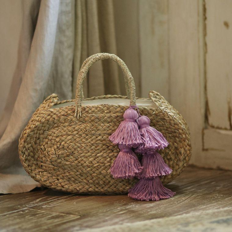 Oval Luna Straw Bag - with Purple Tassels (1-3 days)