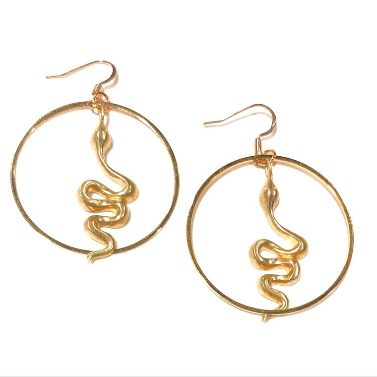 Gold Python Hoops