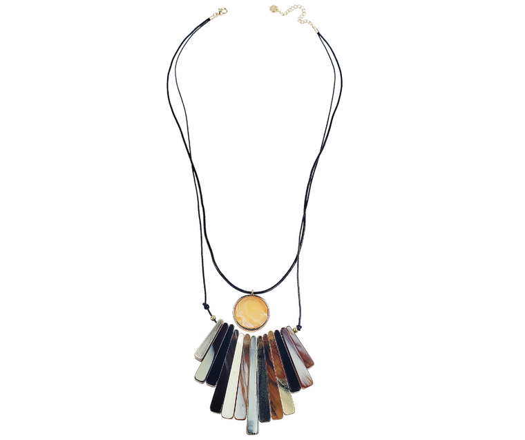 Anna - 2 Row black leather necklace with marbalized resin bars & circle