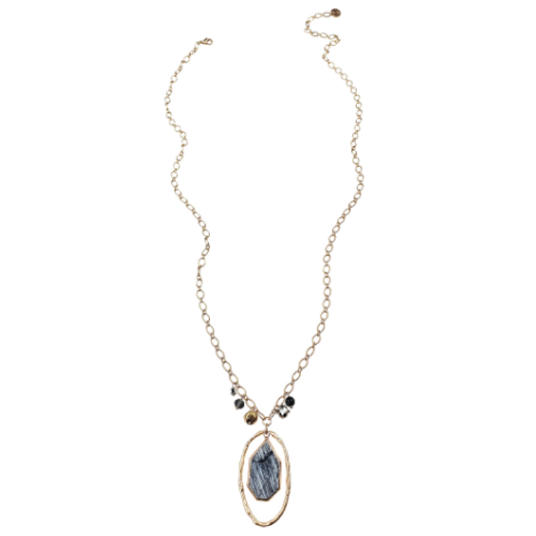 Evelyn - Gold link chain necklace with oval alloy, natural gemstone & beads