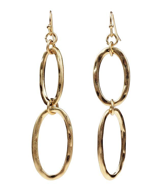 Aurora - 2 Gold oval hoops earrings