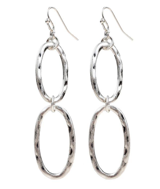 Sierra - 2 Silver oval hoop earrings.