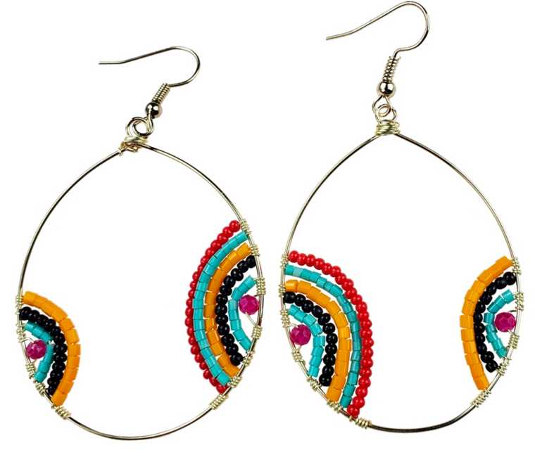 Merry - Gold hoop earrings with multi color beads