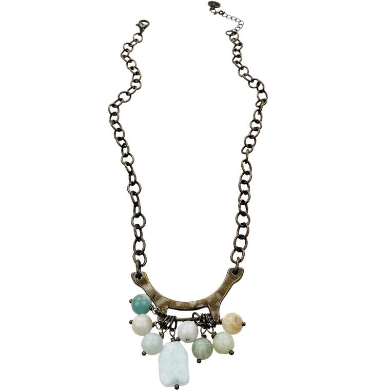 Dumas - Antique bronze necklace with amazonite gemstone