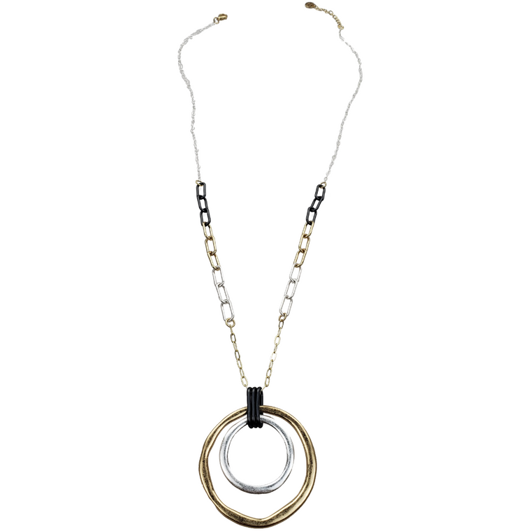 Tribeca - 3 Tone circles pendant necklace with chain links