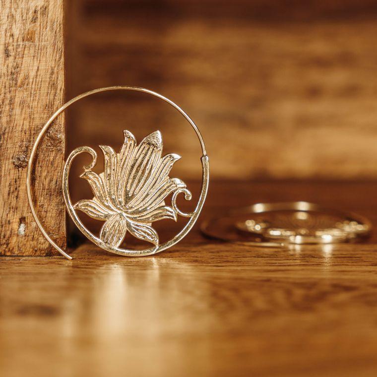 Afloat Spiral Earrings - Brass