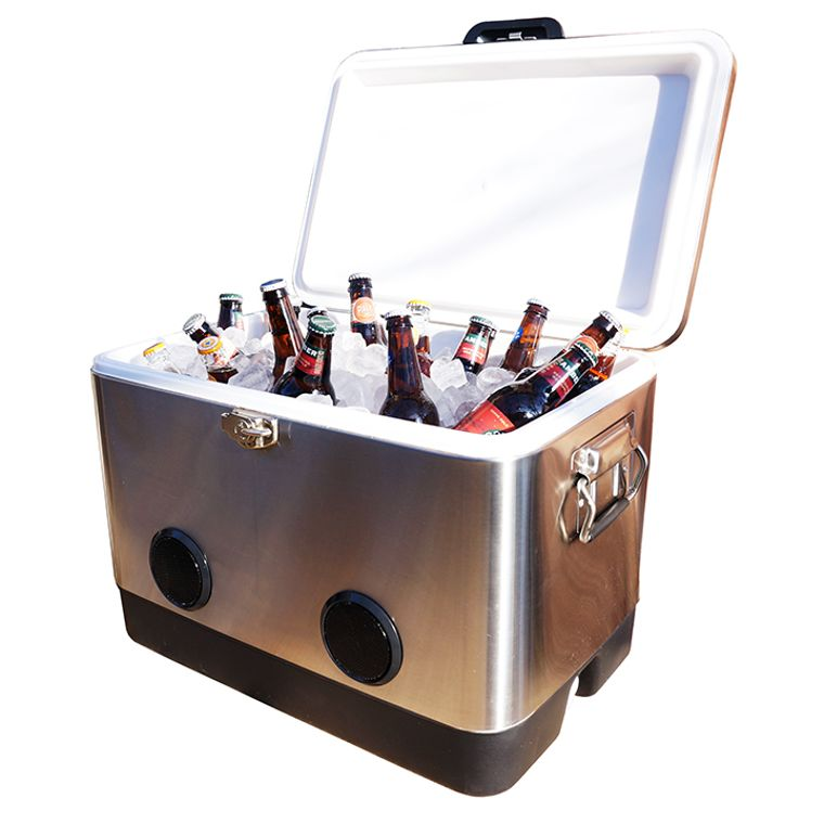 BREKX 54 Quart Double-Walled Party Cooler with High-Powered Tailgating Bluetooth Speakers As Seen On TV
