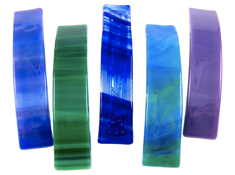 Barrettes Stained Glass Cool Colors Large Size