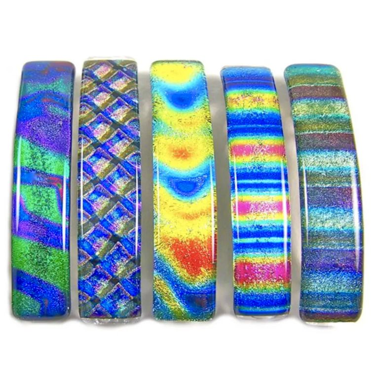 Barrettes Dichroic Glass Tie Dye Patterns Large
