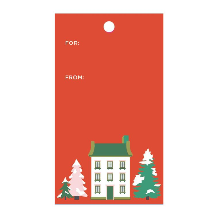 Classic Christmas House Gift Tags (Double-Sided, Set of 10 with Twine)