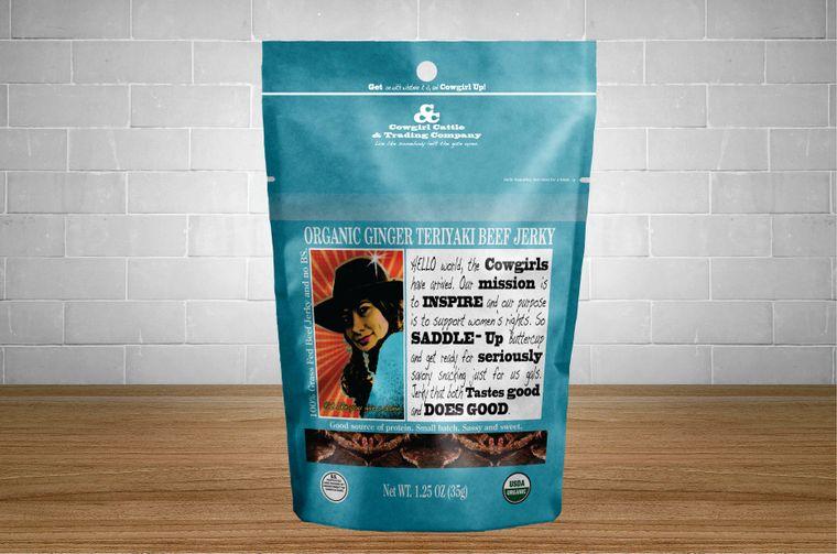 Organic Ginger Teriyaki Beef Jerky 1.25 oz. size.
