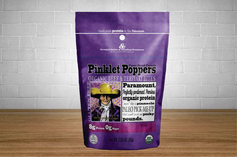 Pinklet Poppers Organic Beef & Teriyaki Bites 1.25 oz. size.