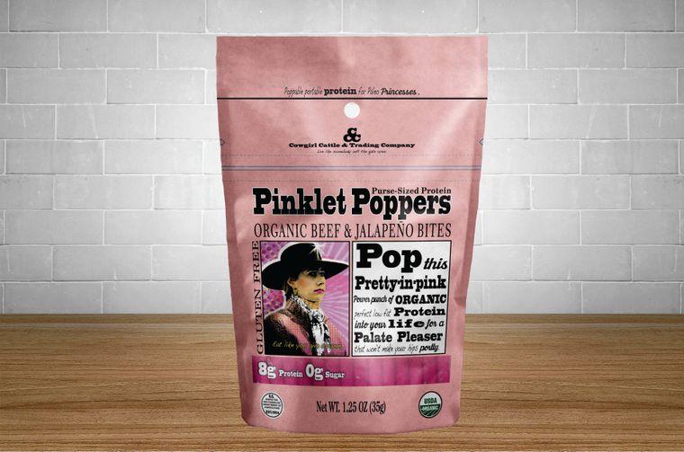 Pinklet Poppers Organic Beef & Jalapeño Bites 1.25 oz. size.