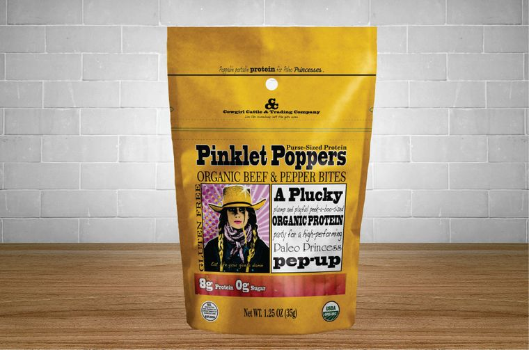 Pinklet Poppers Organic Beef & Pepper Bites 1.25 oz. size.