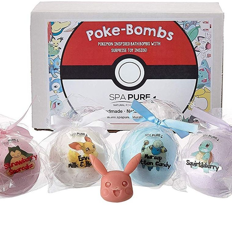 SPA PURE Kid Bath Bombs: Natural, Organic Fizzies with Surprise Poké-Bomb Toys Inside, 6 Huge Balls