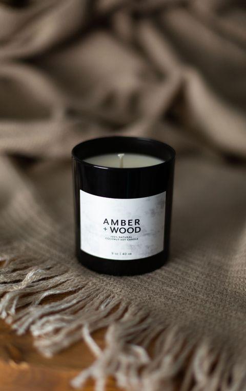 Amber + Wood Lg Candle