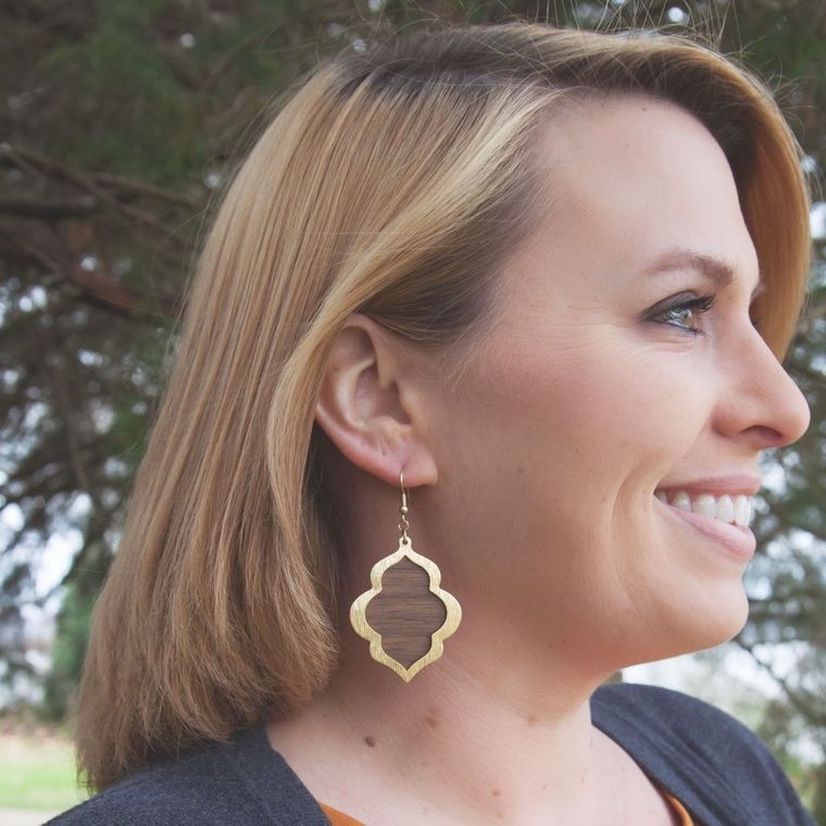 Gold and Walnut Moroccan Dangle Earring