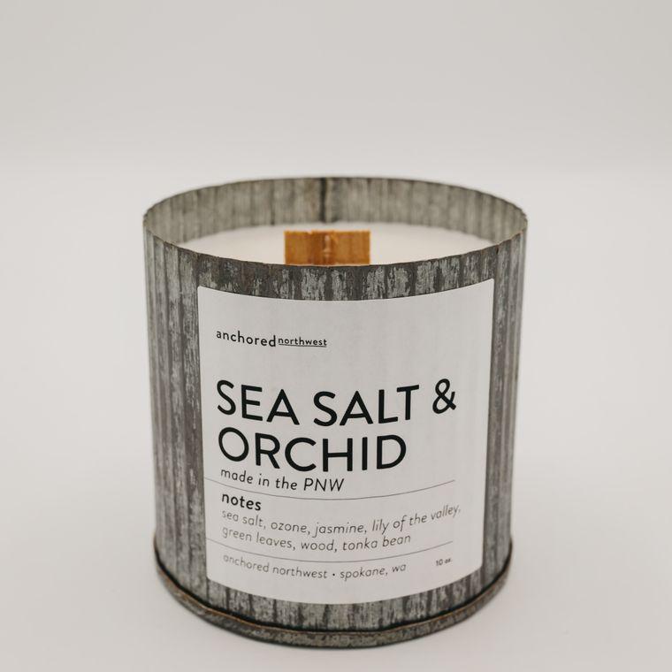Rustic Vintage Soy Candle - Sea Salt & Orchid (10oz)