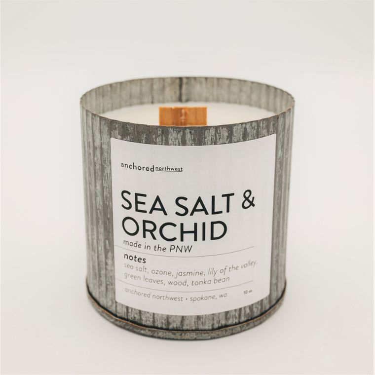 Sea Salt & Orchid - Rustic Vintage Wood Wick Candle
