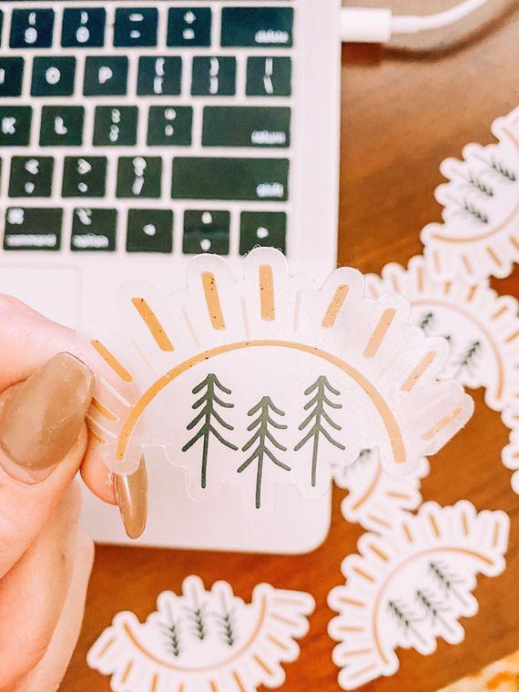 CLEAR Pine Tree Sun Stickers