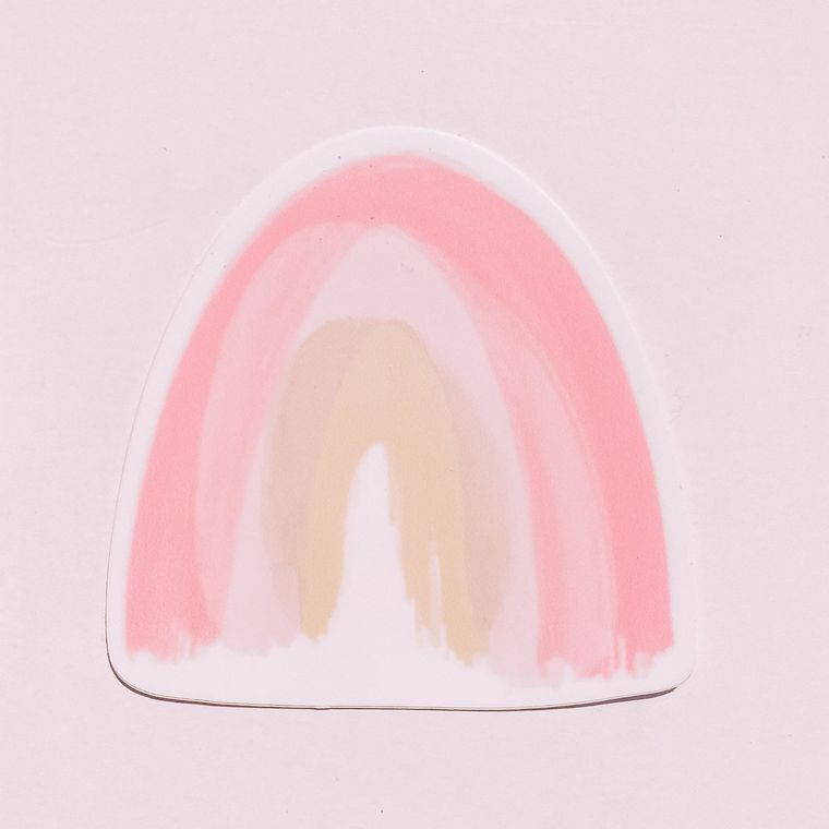 Pink Watercolor Rainbow Stickers
