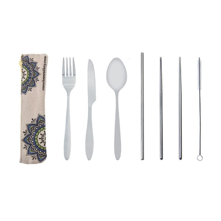 MANDALA Travel Cutlery Set w/ Hemp Blend Pouch