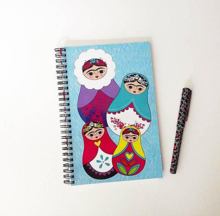 Notebook, journal, Frida Kahlo, matrioshka personal notebook