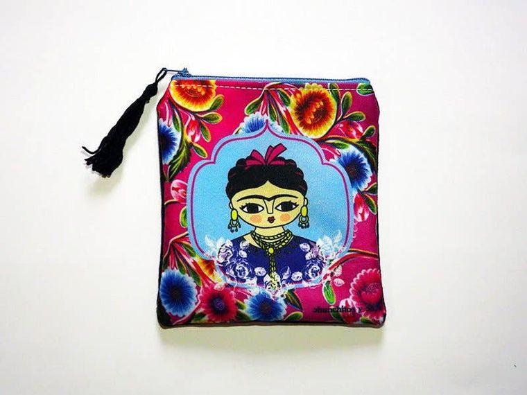 Frida Kahlo purse, zipper pouch, bag