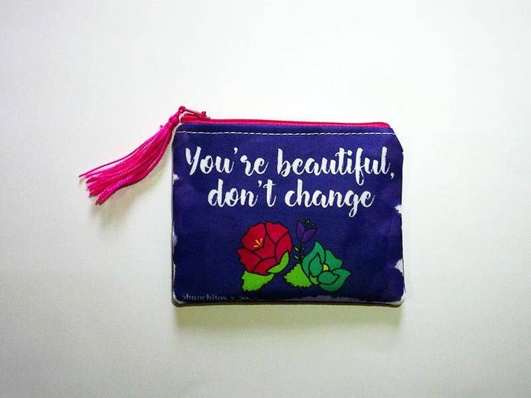 Flower purse, typography bag, zipper pouch, coin purse