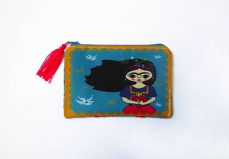 Frida Kahlo purse, purse, bag, coin purse, zipper pouch