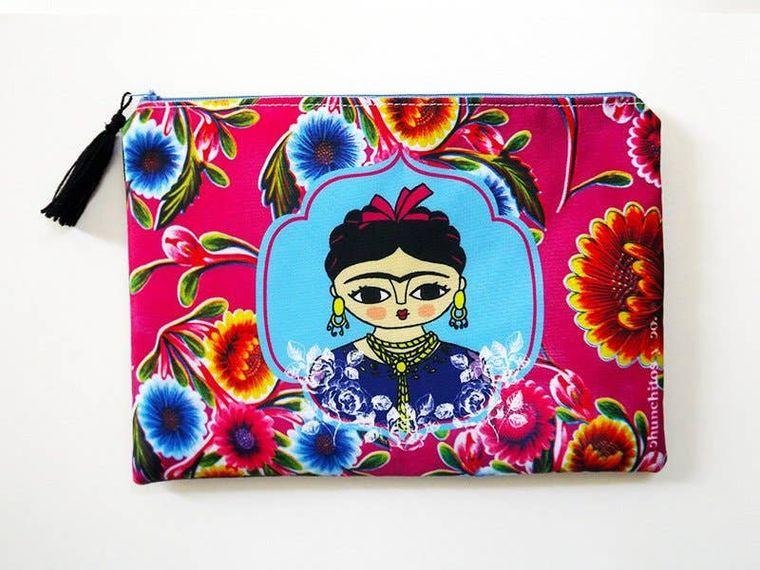 Frida Kahlo, cosmetic bag, makeup bag, pencil case