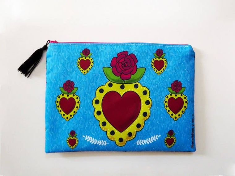 Cosmetic bag, mexican style, makeup bag, pencil case
