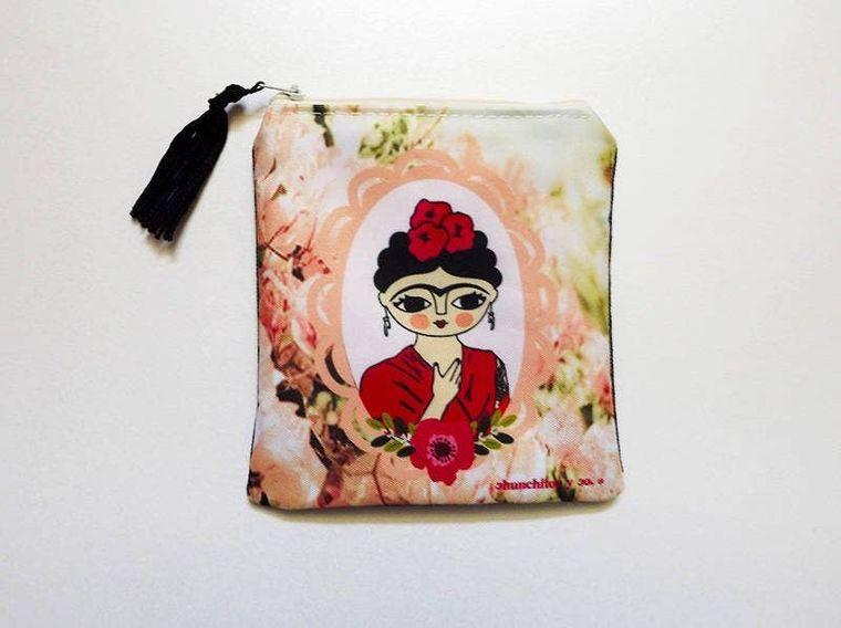 Frida Kahlo purse, peach,  zipper pouch, bag