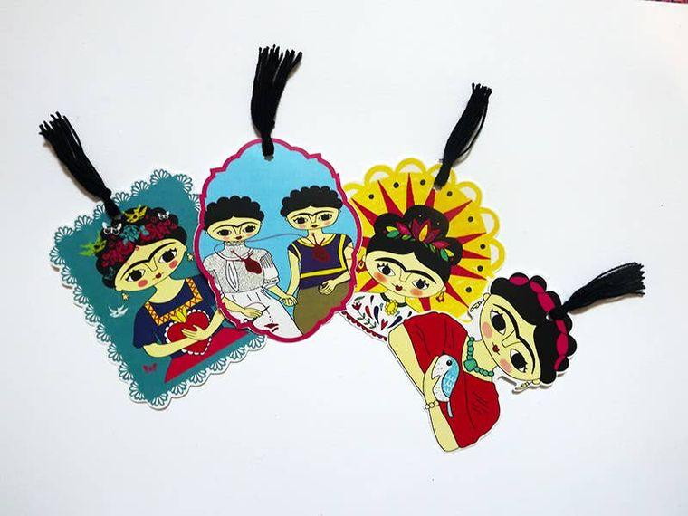 4 Bookmarks, Frida Kahlo, notebook, Frida Kahlo bookmark 2op