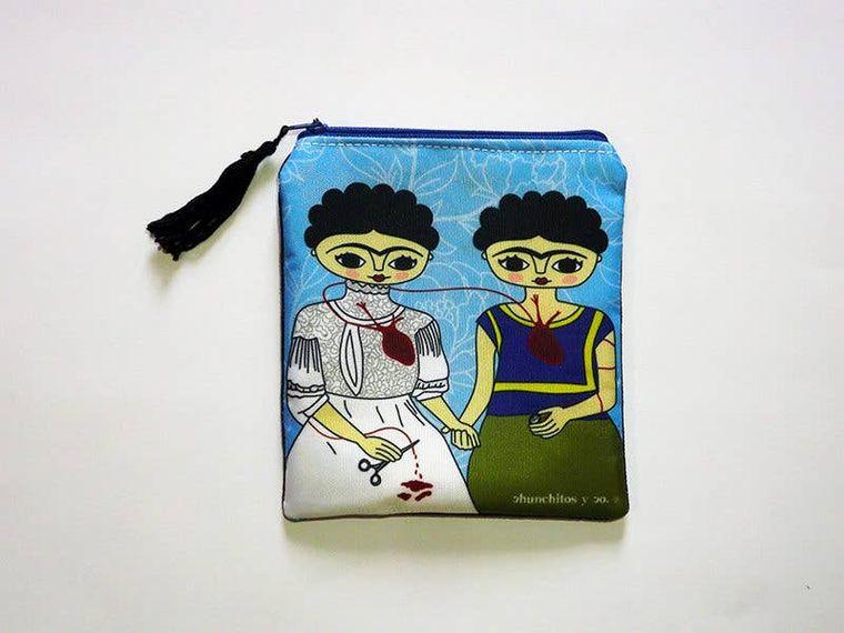 2 Fridas purse, coin purse, zipper bag, zipper pouch