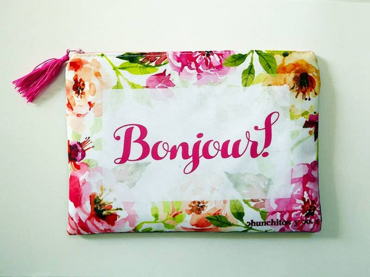 French quote, cosmetic bag, makeup bag, pencil case