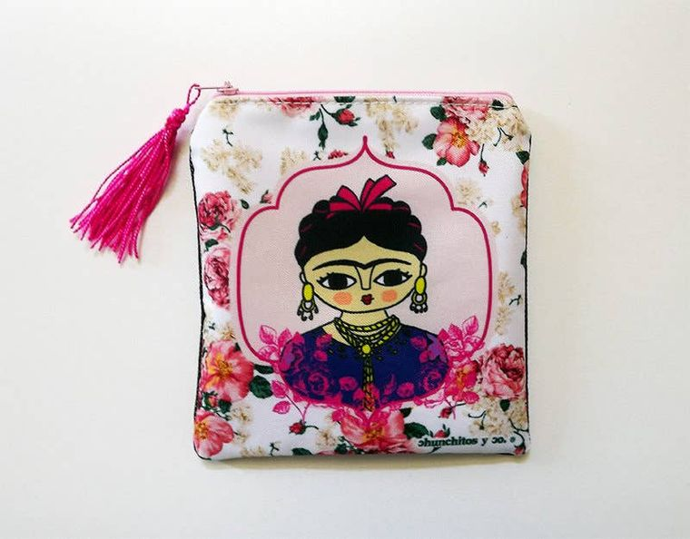 Frida Kahlo purse, pink purse, zipper pouch, bag