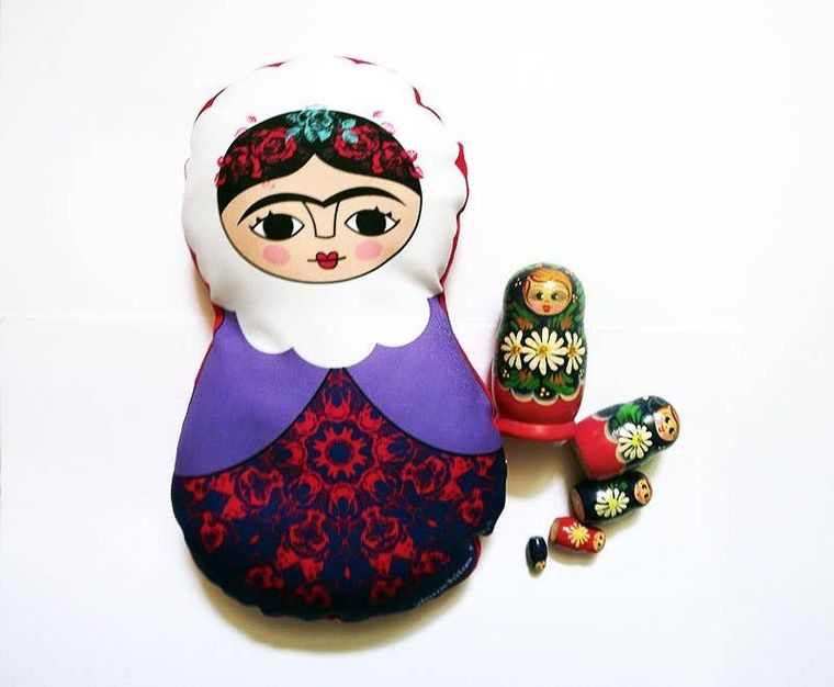 cushion Matrioshka, Frida Kahlo, russian doll, home decor