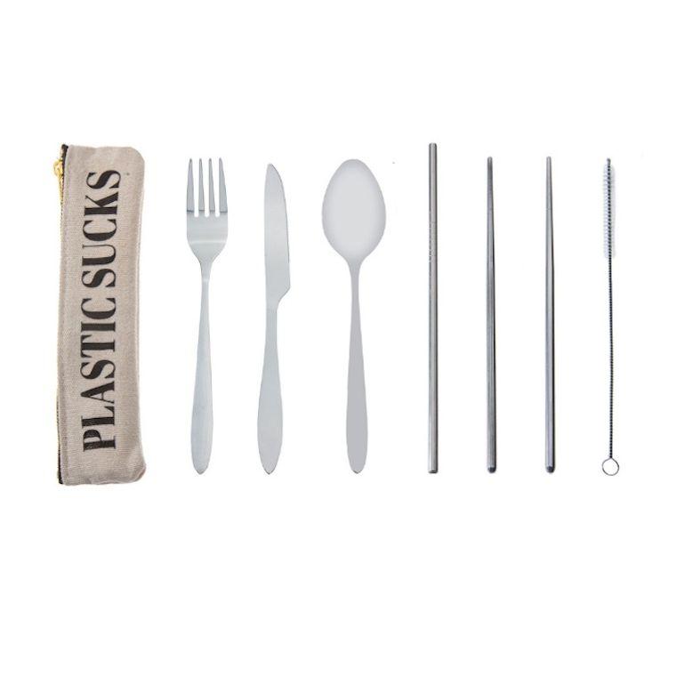 PLASTIC SUCKS Travel Cutlery Set w/ Hemp Pouch – Eco-friendly reusable sustainable utensils w/ straw