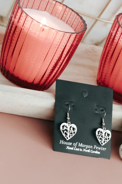 Handmade Valentine's Day Jewelry Gift- Pewter Swirly Heart Small Earrings