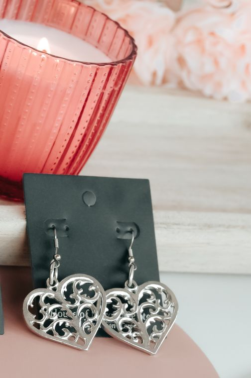 Handmade Valentine's Day Jewelry Gift- Pewter Swirly Heart Large Earrings