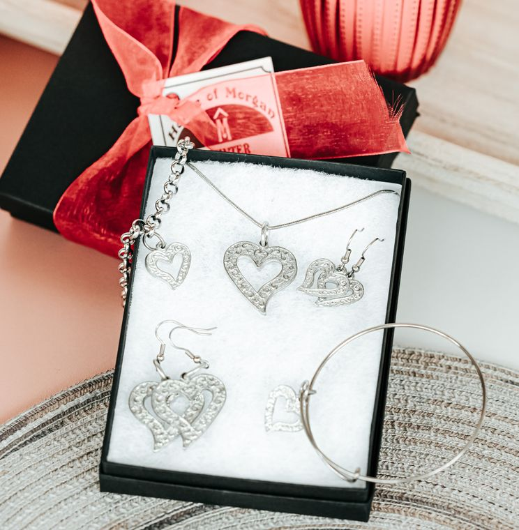 Handmade Valentine's Day Gifts, Asymmetric Pewter Heart Jewelry Collection