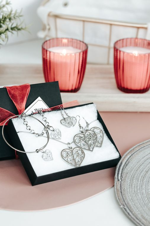 Handmade Valentine's Day Gifts, Swirly Pewter Heart Jewelry Collection