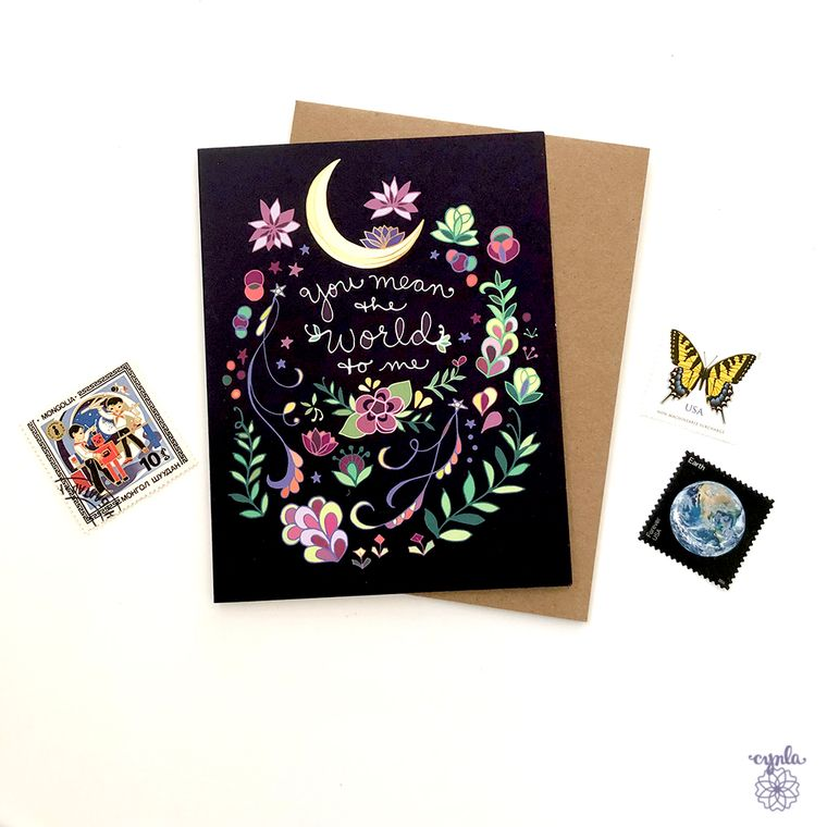 Moon Love - You mean the world to me greeting Card - valentines day card, love card, friendship greeting cards