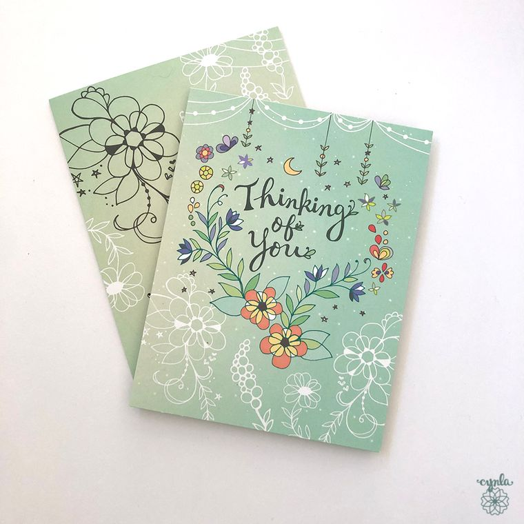 Thinking of you greeting Card - friendship, flowers thinking of you, mint, sympathy, love cards