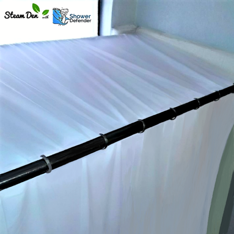 Steam Den™ shower enclosure (w/ Shower Defender™ for curtain control)