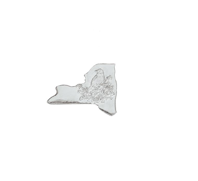 Handmade Pewter Home State Outline State Symbols Refrigerator Magnet- New York