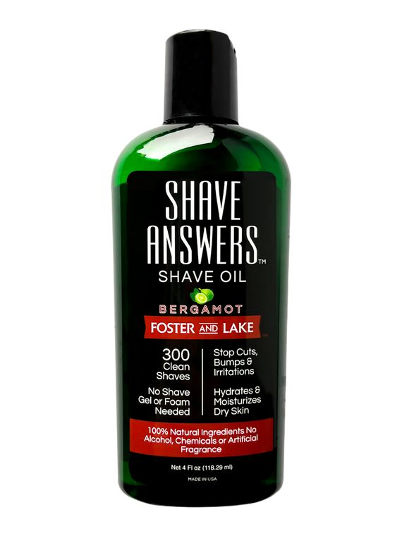 Shave Answers Shave Oil (4 oz)- Bergamot & with all natural Coconut oil