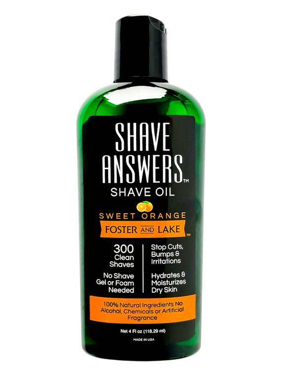 Shave Answers Shave Oil (4 oz)- Sweet Orange, Includes Coconut Oil