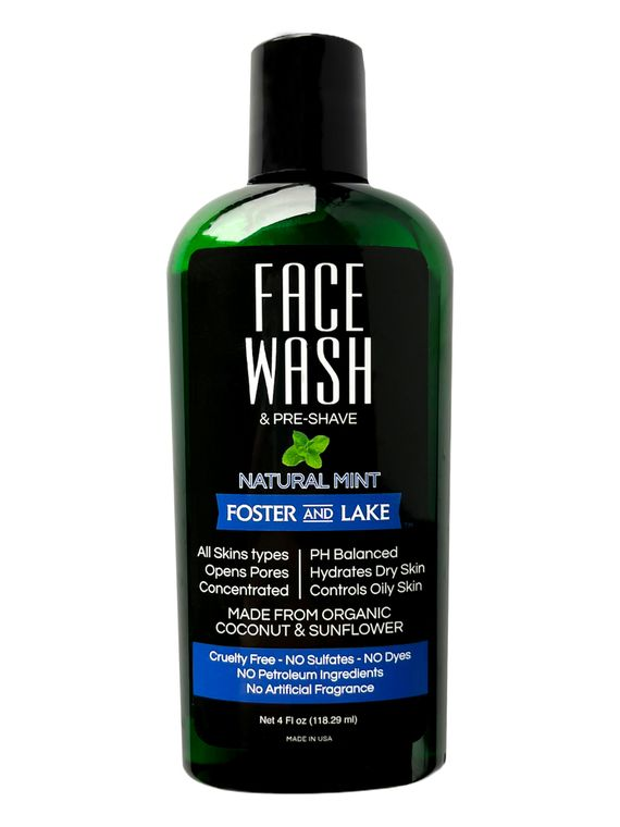 Face Wash Natural Mint 4 oz With Organic Coconut & Sunflower